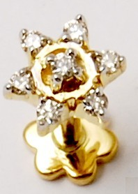 Top quality gold diamond nose pin design