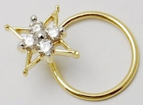 Fashionable diamond gold nose pin