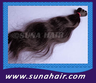 Natural color machine weft remy deep body wavy virgin human hair ex