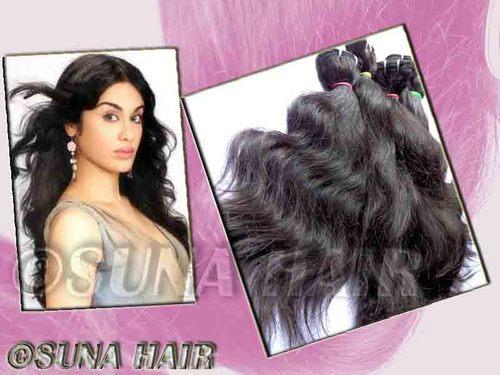 Best quality deep body wavy 100% virgin machine weft natural hair ex