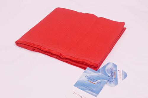 100% Linen Red Shirting Fabric