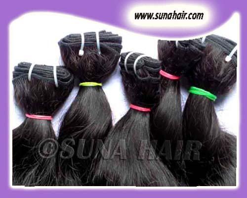 AAA natural mangolian deep black good quality body wavy virgin hair ex