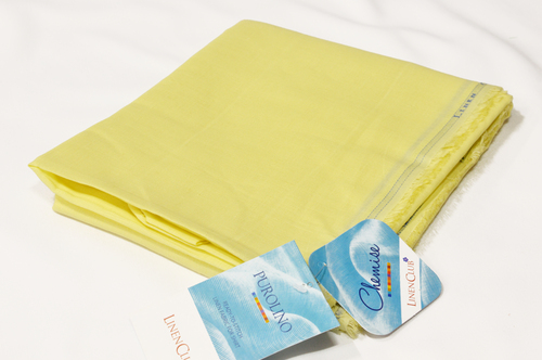 100% Linen Light Yellow Shirting Fabric
