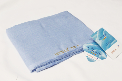 100% Linen Light Blue Shirting Fabric