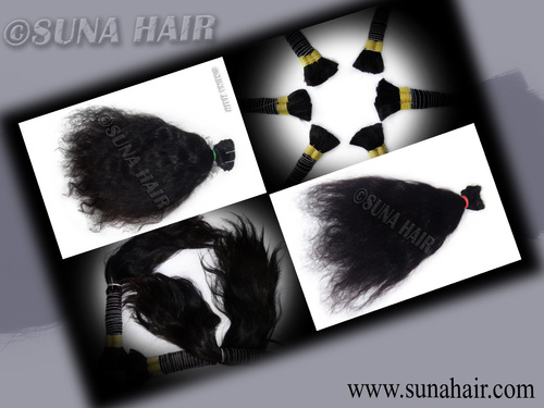 Peruvian weft silky curly good quality black human hair