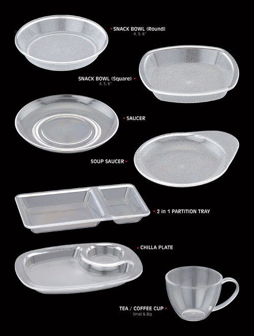 Poly Carbonate Snack  Bowls, Plates & Cups