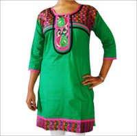 Designer Cotton Kurti with Saree Pattern Neck