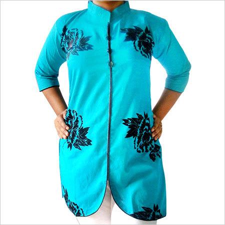 Designer Cotton Kurti Velvet body with Collar