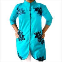 Designer Cotton Kurti Velvet body with Collar