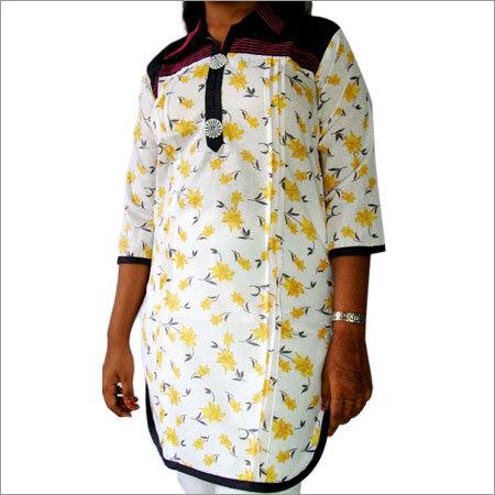 Designer Cotton Denim Neck Kurti