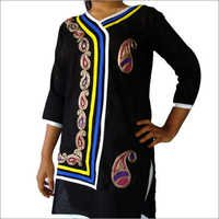 Designer Cotton Kurti 3 Piping with Lace
