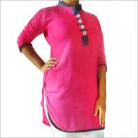 Designer Rayon Kurti Straight Denim Collar