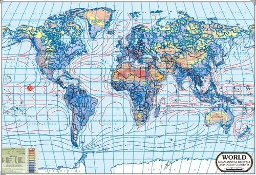 World Rainfall & Ocean Currents Map