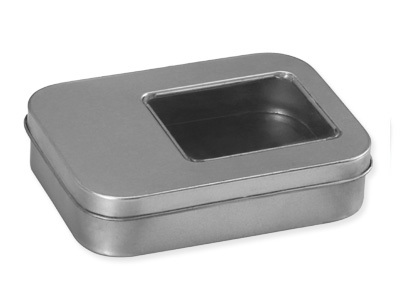 Rectangular Tin Box With Glass