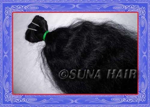 Grade 4A Unproccesed silky curly machine weft virgin brazilian hair ex