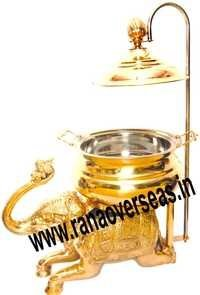 ELEPHANT TRUNK UP WELCOMING BRASS CHAFING DISH