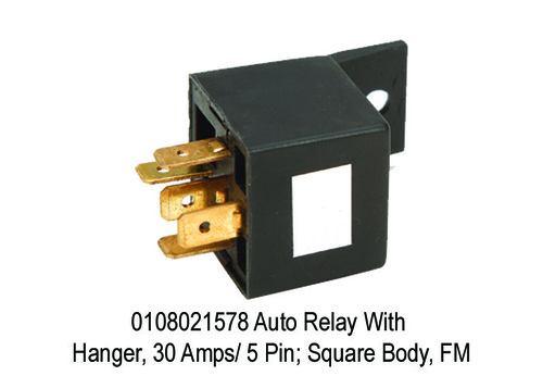 Auto Relay With Hanger, 30 Amps 5 Pin; Square