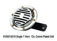 Single T Horn 12v, Crome Plate Grill