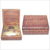 Seven Indian spices in nice wooden carved box