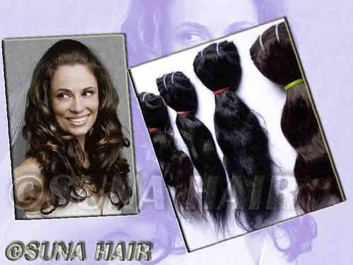 Unprocessing silky curly machine weft black color tight weft hair ex