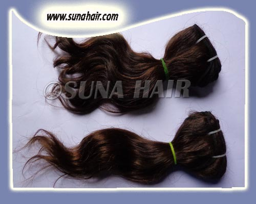 Genuine natural pure brown raw remy silky curly remy hair ex