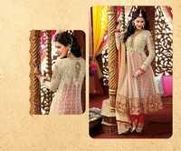 Beige Maroon Designer Long Length Salwar Kameez