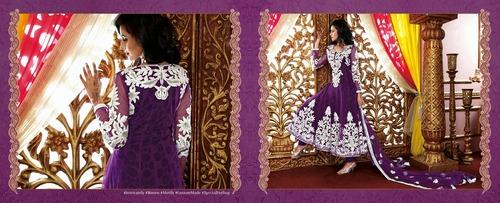 Purple Designer Long Length Salwar Kameez