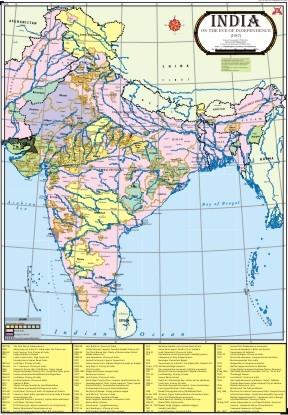 India On The Eve of Independence Map