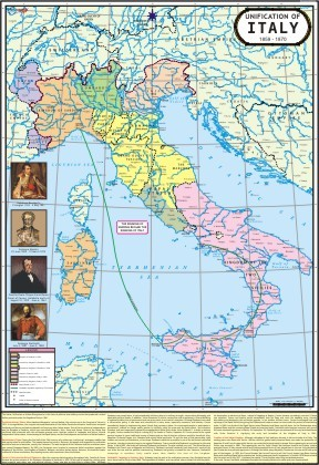 Struggle for Unification of Italy Map