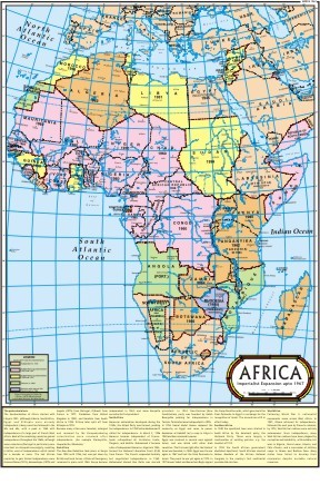 The Imperialist Expansion in Africa 1967 Map