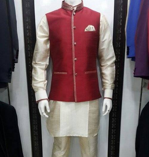 Silk Kurta Pyjama With Waist Coat