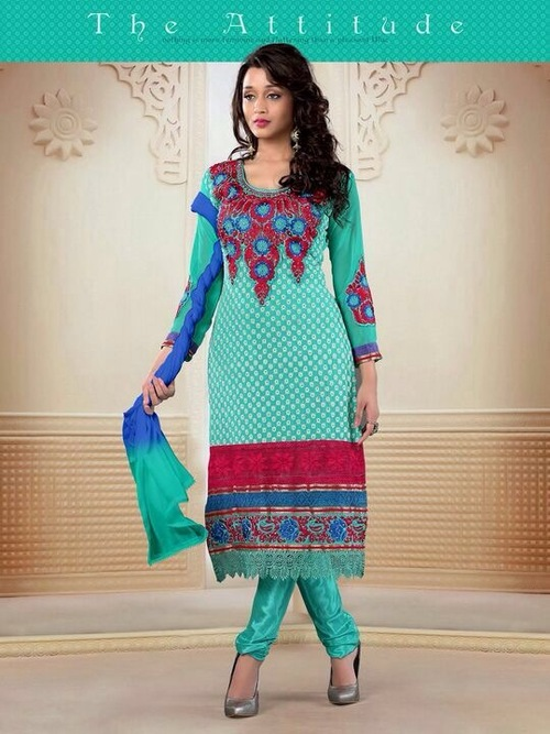 Embroidered Designer Churidar Suits