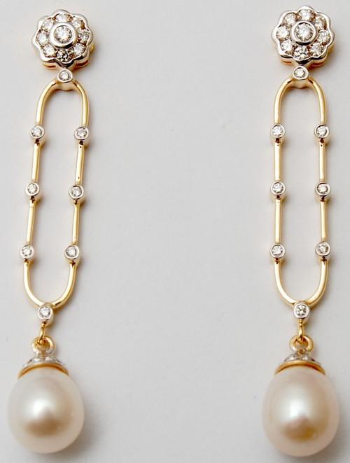 graceful light and long pearl earrings