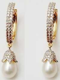 bali style diamond pearl earring jewelry