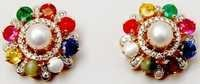 graceful multi gemstone earring exporter