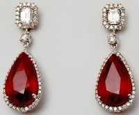 big ruby gemstone diamond earrings