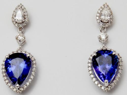 pear shape diamond colored gemstone long earring