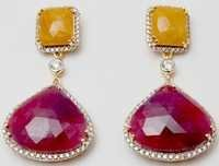 yellow sapphire and ruby earring design