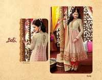 Red And White Net Anarkali