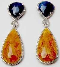 pretty pear shape blue sapphire gemstone earring