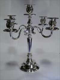 Silver 5 Arms Candle Stand