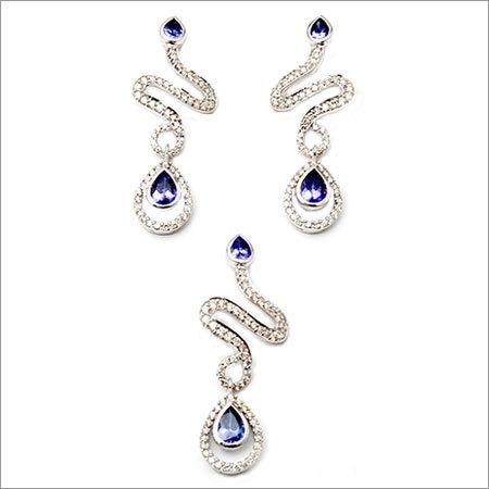 White Gold pendant earring designer piece