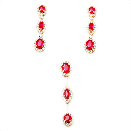 Adorable Gemstone Diamond Earring Pendant