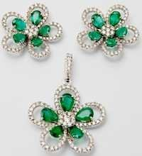 flower design diamond earring pendant set