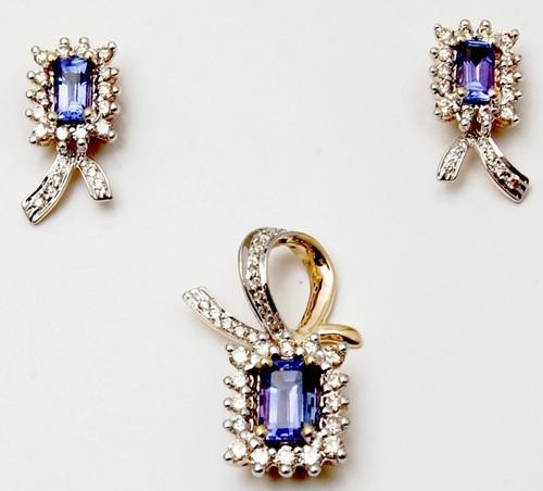 brilliant cut diamond pendant earring set