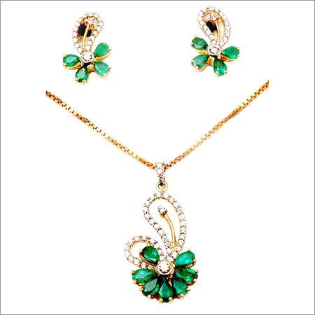 Delicate designer diamond earring pendant set