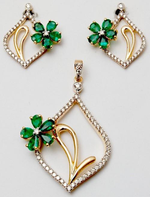 prong setting flower design gemstone pendant set