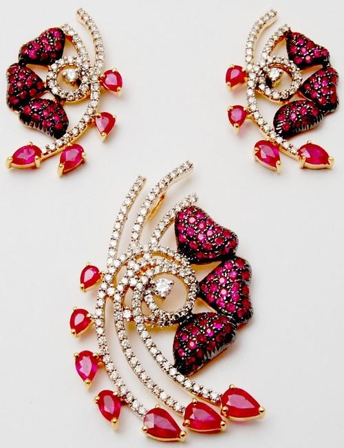 Black Rhodium ruby designer earring pair