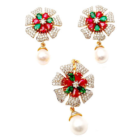 Ruby emerald pearl diamond earring pendant