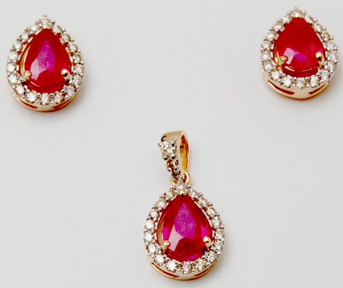 18k yellow gold ruby gemstone pendant set